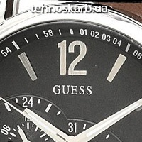 Часы Guess black dual time leather