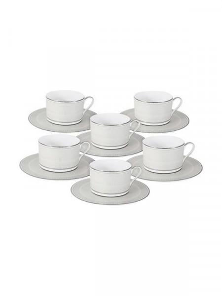 Сервіз чайний фарфоровий -- 6 чашок, 6 блюдечок, металева пізставка, коробка потерта